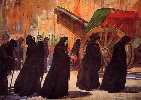 Rrepresentando as viúvas, de negro, acompanhando o féretro do soldado morto. Funeral dos Soldados Desconhecidos, Pintura de 1927, Sousa Lopes